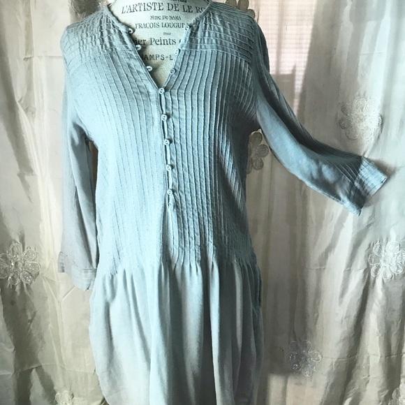 52d40112 Zara Dresses | Trafaluc Grey Blue Cotton Lined Tunic Dress | Poshmark